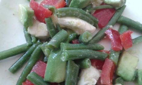 Salade met haricot verts mozzarella avocado